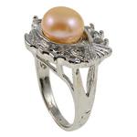 Ujërave të ëmbla Pearl Ring Finger, Pearl kulturuar ujërave të ëmbla, Peshk, natyror, rozë, 21x29.50x16mm, : 18mm, :8, 10PC/Qese,  Qese