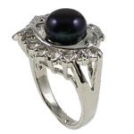 Ujërave të ëmbla Pearl Ring Finger, Pearl kulturuar ujërave të ëmbla, Peshk, natyror, e zezë, 21x29.50x16mm, : 18mm, :8, 10PC/Qese,  Qese