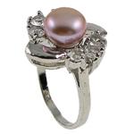 Ujërave të ëmbla Pearl Ring Finger, Pearl kulturuar ujërave të ëmbla, with Diamant i rremë & Tunxh, Shape Tjera, natyror, purpurtë drita, 21x29.50x18mm, : 18mm, :8, 10PC/Qese,  Qese