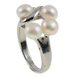 Ujërave të ëmbla Pearl Ring Finger, Pearl kulturuar ujërave të ëmbla, with Diamant i rremë & Tunxh, Shape Tjera, natyror, e bardhë, 20.50x26x15mm, : 17mm, :6.5, 10PC/Qese,  Qese