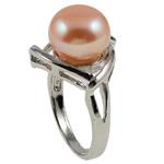 Ujërave të ëmbla Pearl Ring Finger, Pearl kulturuar ujërave të ëmbla, with Tunxh, Shape Tjera, natyror, rozë, 22x33x18mm, : 19mm, :9, 10PC/Qese,  Qese