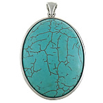 Gemstone Pendants, Flat oval, with brass pendant setting, 33x42.5x8.5mm, Hole:Approx 4x7MM, Sold by PC