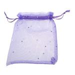 Drawstring çanta bizhuteri, Organza, asnjë, i tejdukshëm, vjollcë, 120x100mm, 100PC/Qese,  Qese