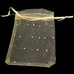 Drawstring çanta bizhuteri, Organza, asnjë, i tejdukshëm, i verdhë, 120x100mm, 100PC/Qese,  Qese