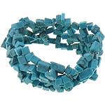 Fashion Bracelets Turquoise, Bruz sintetike, Nuggets, asnjë, asnjë, blu, 28mm, : 6Inç, 10Fillesat/Qese,  Qese