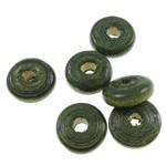 Beads druri, Heishi, i lyer, asnjë, Ushtria Kamuflimi gjelbër, 10x4mm, : 3mm, 3330PC/Qese,  Qese