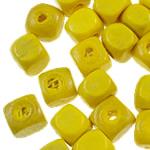 Beads druri, Kub, i lyer, asnjë, i verdhë, 5mm, : 1.5mm, 8195PC/Qese,  Qese