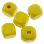Beads druri, Kub, i lyer, asnjë, i verdhë, 8mm, : 2.5mm, 1945PC/Qese,  Qese