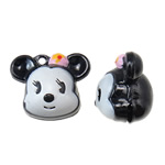 Hekuri Pendants Bell, Mickey Mouse, asnjë, smalt, e zezë, , nikel çojë \x26amp; kadmium falas, 25x21x18mm, : 2mm, 10PC/Qese,  Qese
