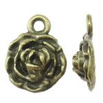 Zinklegierung Blume Anhänger, antike Bronzefarbe plattiert, frei von Nickel, Blei & Kadmium, 12x16x5mm, Bohrung:ca. 2mm, ca. 760PCs/kg, verkauft von kg