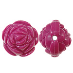 Beads Solid Color akrilik, Lule, asnjë, ngjyra të forta, Pink fuchsia, 20x17mm, : 2.5mm, 170PC/Qese,  Qese