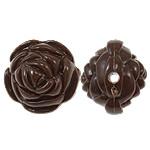 Beads Solid Color akrilik, Lule, asnjë, ngjyra të forta, ngjyrë të thellë kafe, 20x17mm, : 2.5mm, 170PC/Qese,  Qese