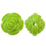 Beads Solid Color akrilik, Lule, asnjë, ngjyra të forta, drita e gjelbër, 20x17mm, : 2.5mm, 170PC/Qese,  Qese