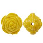 Beads Solid Color akrilik, Lule, asnjë, ngjyra të forta, i verdhë, 20x17mm, : 2.5mm, 170PC/Qese,  Qese