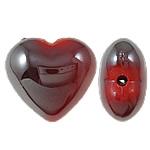 Beads UV akrilik Plating, Zemër, Plating UV, asnjë, i kuq, 22x20x12mm, : 2.5mm, 165PC/Qese,  Qese