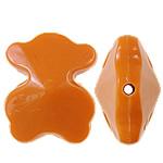 Beads Solid Color akrilik, Bear, asnjë, ngjyra të forta, portokalli drita të kuqe, 15x19x10mm, : 1.5mm, 355PC/Qese,  Qese