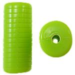Beads Solid Color akrilik, Tub, asnjë, ngjyra të forta, e gjelbër, 12.50x11x30mm, : 3mm, 145PC/Qese,  Qese