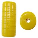 Beads Solid Color akrilik, Tub, asnjë, ngjyra të forta, i verdhë, 12.50x11x30mm, : 3mm, 145PC/Qese,  Qese