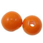 Beads Solid Color akrilik, Round, asnjë, ngjyra të forta, portokalli thellë kuqalashe, 8mm, : 1.8mm, 2080PC/Qese,  Qese