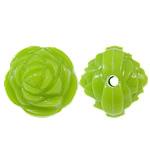 Beads Solid Color akrilik, Lule, asnjë, ngjyra të forta, e gjelbër, 14x13mm, : 2mm, 450PC/Qese,  Qese
