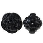 Beads Solid Color akrilik, Lule, asnjë, ngjyra të forta, e zezë, 14x13mm, : 2mm, 450PC/Qese,  Qese