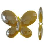 Beads UV akrilik Plating, Flutur, Plating UV, asnjë, i verdhë, 30x23x4.50mm, : 2mm, 310PC/Qese,  Qese