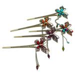 Stick flokët, Alloy zink, with Rrëshirë, Flutur, Ngjyra antike bronz i praruar, me diamant i rremë, asnjë, , nikel çojë \x26amp; kadmium falas, 152x62x11mm, 12PC/Qese,  Qese