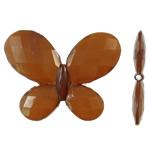 Akrilik Jelly Style Beads, Flutur, asnjë, Stili pelte, ngjyrë kafe, 29x23x3.50mm, : 2mm, 310PC/Qese,  Qese