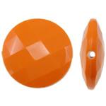 Beads Solid Color akrilik, Round Flat, asnjë, ngjyra të forta, portokalli drita të kuqe, 25x8mm, : 2mm, 150PC/Qese,  Qese