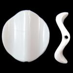Beads Solid Color akrilik, Kthesë, asnjë, ngjyra të forta, e bardhë, 24x26x6mm, : 2mm, 285PC/Qese,  Qese