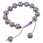 Ujërave të ëmbla Pearl Shamballa Bracelets, Pearl kulturuar ujërave të ëmbla, with Cord Wax, Shape Tjera, me karrem, vjollcë, 9-10mm, :7.5Inç,  7.5Inç,