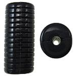 Beads Solid Color akrilik, Tub, asnjë, ngjyra të forta, e zezë, 12.50x11x30mm, : 3mm, 145PC/Qese,  Qese