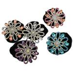 Tie diamant i rremë Flokët Lule, Alloy zink, with Velveteen & Xham, Ngjyra argjend praruar, me diamant i rremë, asnjë, , nikel çojë \x26amp; kadmium falas, 55x54x24mm, : 6Inç, 12PC/Qese,  Qese