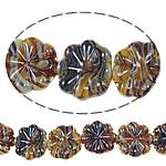 Plattierte Lampwork Perlen, Blume, 25x23x6.50mm, Bohrung:ca. 1.5-2.5mm, Länge:ca. 18 ZollInch, 10SträngeStrang/Tasche, verkauft von Tasche