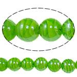 Plattierte Lampwork Perlen, rund, grün, 16mm, Bohrung:ca. 1-2.5mm, Länge:ca. 12.8 ZollInch, 10SträngeStrang/Tasche, verkauft von Tasche