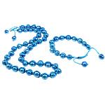Natyrore kulturuar Pearl ujërave të ëmbla bizhuteri Sets, Pearl kulturuar ujërave të ëmbla, with Cord Wax, Oval, i lyer, blu, 9-11mm, :19.5Inç,  I vendosur