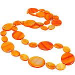 Necklaces Shell, Predhë, Oval Flat, i lyer, asnjë, portokall, 18-30mm, :30Inç,  30Inç,