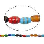Plattierte Lampwork Perlen, oval, Goldsand, gemischte Farben, 7x9mm, Bohrung:ca. 1.5-2mm, Länge:ca. 13.7 ZollInch, 10SträngeStrang/Tasche, verkauft von Tasche