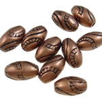 Beads praruar akrilik, Oval, ngjyrë bakri të praruar antike, asnjë, asnjë, 13x7.5mm, : 2mm, 1250PC/Qese,  Qese