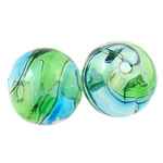 Beads lulëzim Lampwork, Round, punuar me dorë, i uritur, asnjë, 12mm, : 2-3mm, 50PC/Qese,  Qese