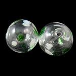 Mundgeblasene Lampwork Perlen, rund, handgemacht, hohl, 12mm, Bohrung:ca. 1.5-2mm, 50PCs/Tasche, verkauft von Tasche