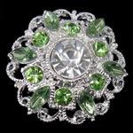 Karficë zbukurimi diamant i rremë, Alloy zink, Lule, Ngjyra argjend praruar, me diamant i rremë, e gjelbër, , nikel çojë \x26amp; kadmium falas, 26x26x10mm, 50PC/Qese,  Qese