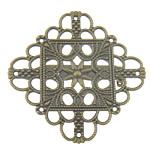 Gjetjet karficë tunxh, with Hekur, Shape Tjera, Ngjyra antike bronz i praruar, filigran, asnjë, , nikel çojë \x26amp; kadmium falas, 43x43mm, 100PC/Qese,  Qese
