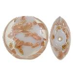 Goldsand Lampwork Perlen, flache Runde, handgemacht, 20x10mm, Bohrung:ca. 1-1.5mm, 100PCs/Tasche, verkauft von Tasche