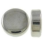 Veshura bakri Beads plastike, plastike bakrit të veshura, Round Flat, ngjyrë platin praruar, gjysmë-shpuar, asnjë, , nikel çojë \x26amp; kadmium falas, 9x3.5mm, : 2mm, 2855PC/KG,  KG