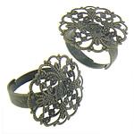 Filigran Brass Ring Base, Tunxh, Shape Tjera, Ngjyra antike bronz i praruar, asnjë, asnjë, , nikel çojë \x26amp; kadmium falas, 22x22mm, : 17.3mm, :6.5, 200PC/Qese,  Qese