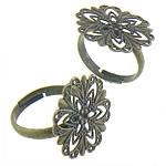 Filigran Brass Ring Base, Tunxh, Shape Tjera, Ngjyra antike bronz i praruar, asnjë, asnjë, , nikel çojë \x26amp; kadmium falas, 21x21mm, : 17.4mm, :6, 200PC/Qese,  Qese