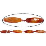 Beads Kuq Natyrore agat, dantella agat, Oval, asnjë, makinë faceted & shirit, 41x12mm, : 2mm, : 15.7Inç, 5Fillesat/Shumë,  Shumë