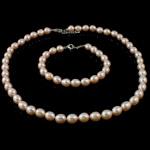 Natyrore kulturuar Pearl ujërave të ëmbla bizhuteri Sets, Pearl kulturuar ujërave të ëmbla, Oriz, natyror, rozë, 8mm, :16.5Inç,  7Inç,  I vendosur