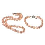 Natyrore kulturuar Pearl ujërave të ëmbla bizhuteri Sets, Pearl kulturuar ujërave të ëmbla, Oriz, natyror, rozë, 7mm, :16Inç,  7Inç,  I vendosur
